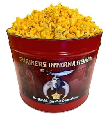 2 gallon popcorn tin with Orak Shriners logo